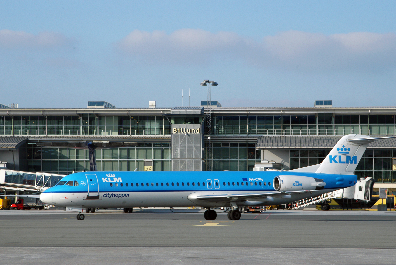 KLM flyver fra Amsterdam til København, Aalborg og Billund.