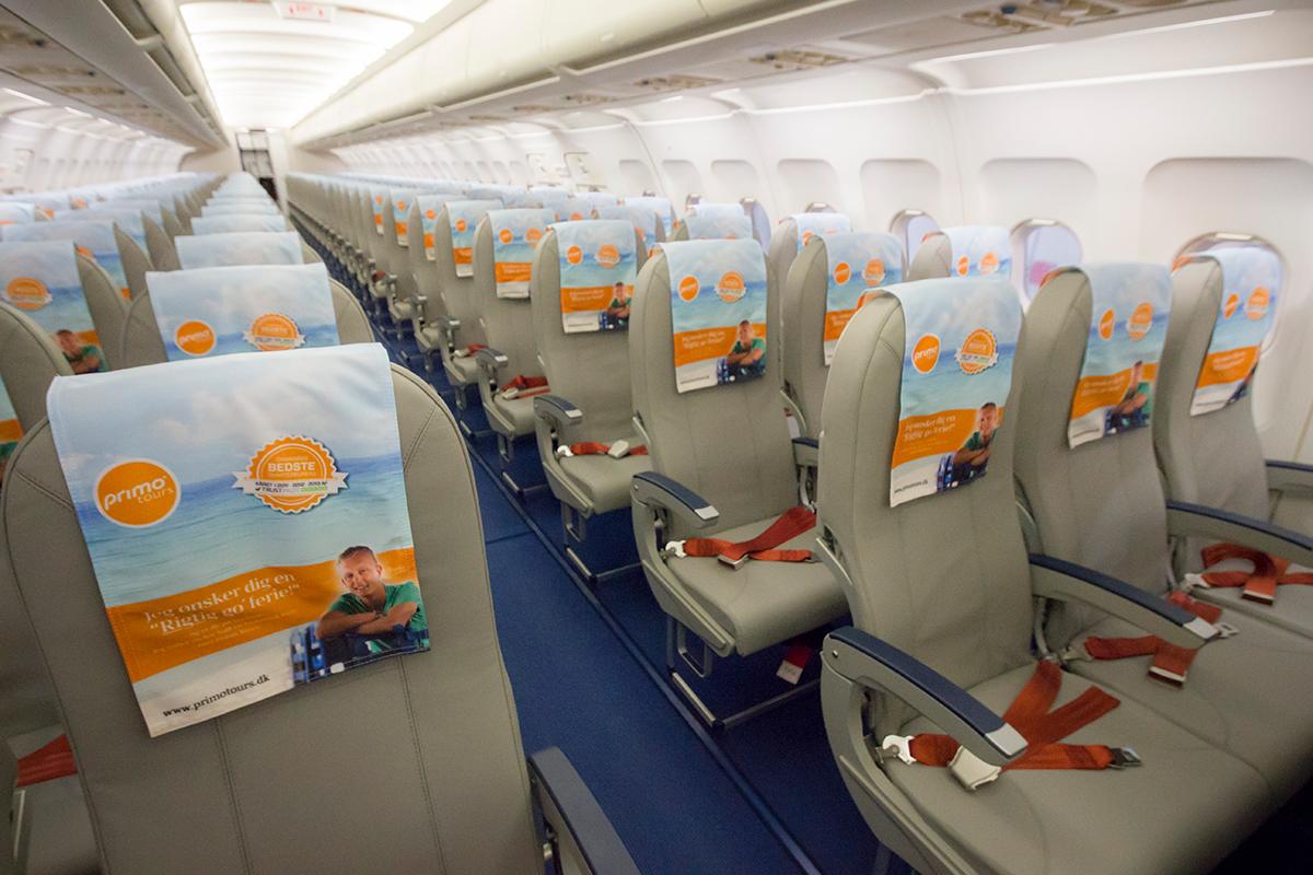 Kabinen i DAT´s A320-fly. (Foto: DAT/PR)