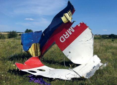 Resterne af Malaysia Airlines MH017, der blev ramt af et missil over det østlige Ukraine.