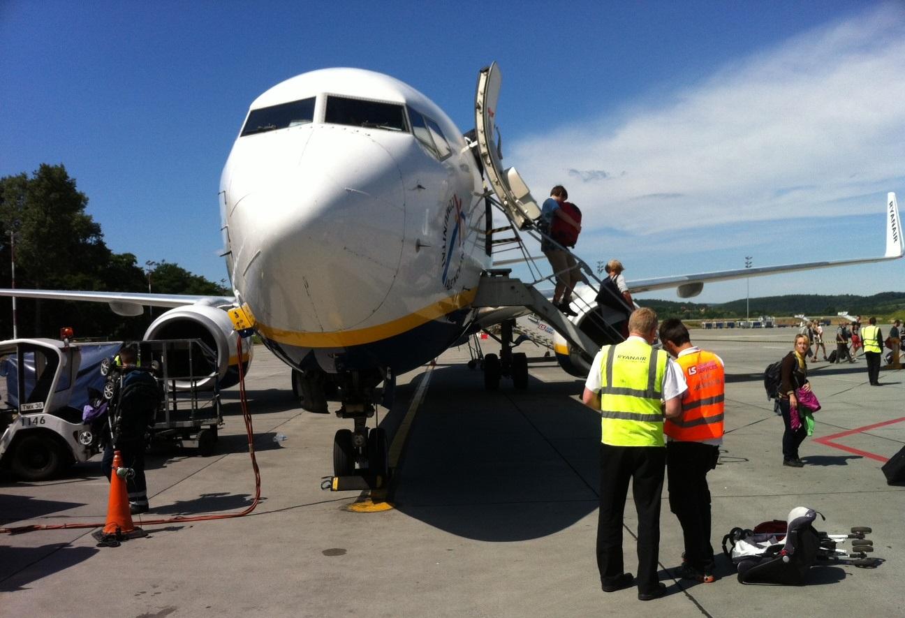 Et forsinket Ryanair-fly i Krakow Lufthavn. (Foto: Ole Kirchert Christensen)