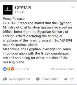 Pressemeddelelse fra Egyptair udsendt den 19. maj kl. 19:10.