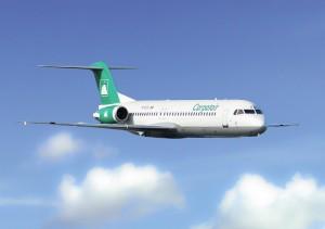 Carpatairs Fokker F-100 skal flyve mellem Oslo og Stavanger.