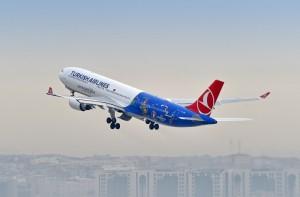 Airbus A330-fly fra Turkish Airlines i en særlig EURO 2016-udgave.