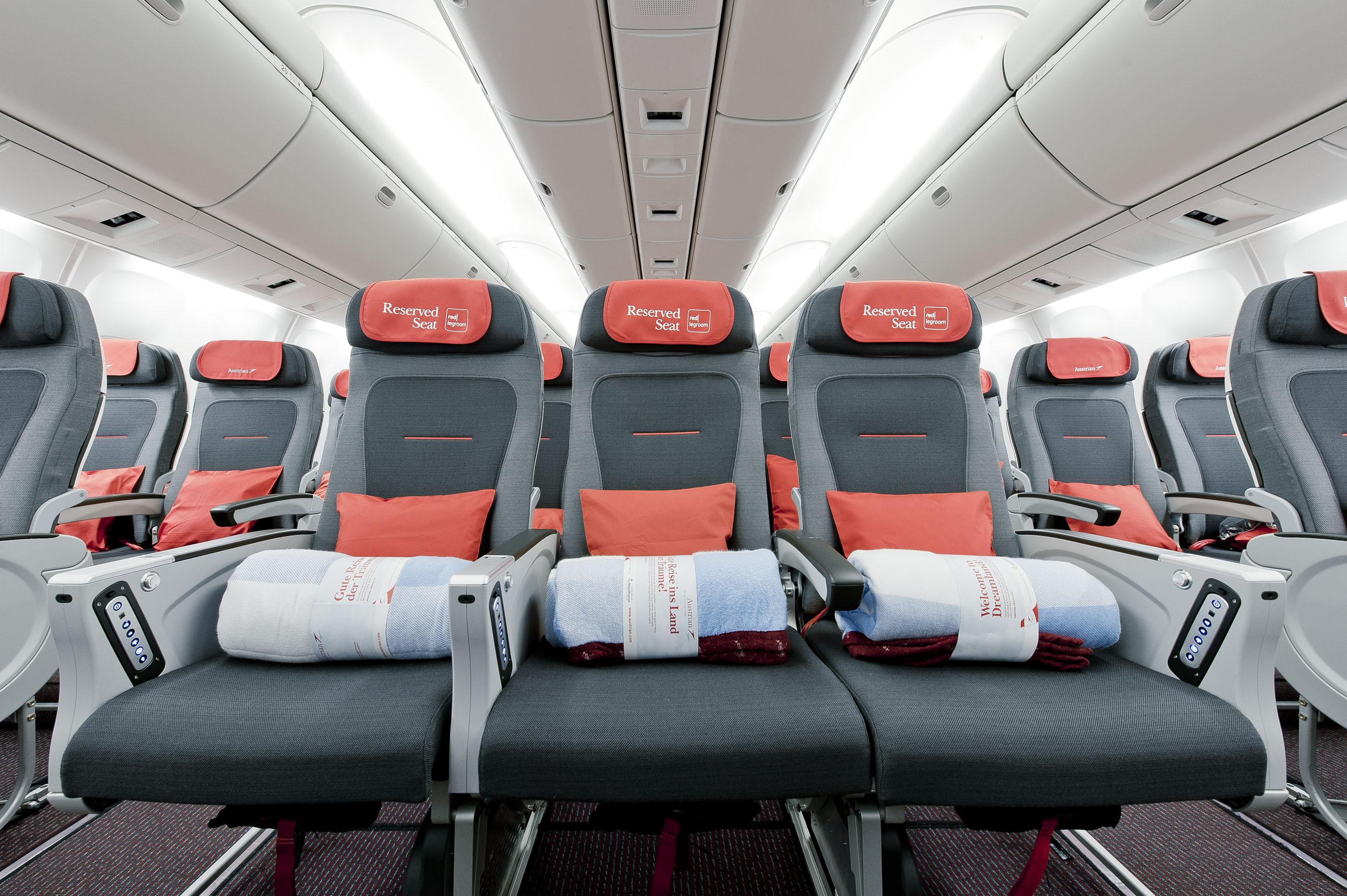 Economy Class-sæder i Austrians langdistancefly. (Foto: Austrian Airlines)