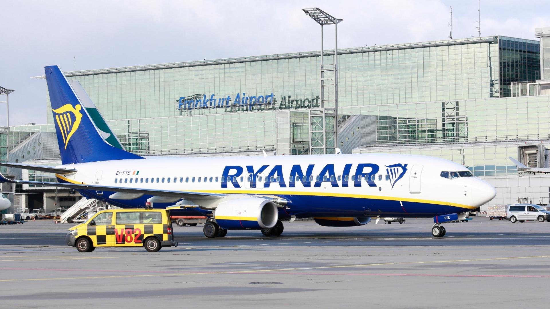En Boeing 737-800 fra Ryanair var med i Frankfurt da selskabet annoncerede den nye base. Foto: Fraport AG/PR