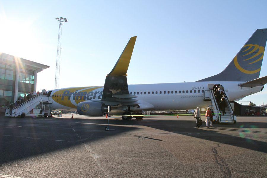 Primera Air i Aalborg Lufthavn. (Foto: Aalborg Lufthavn)