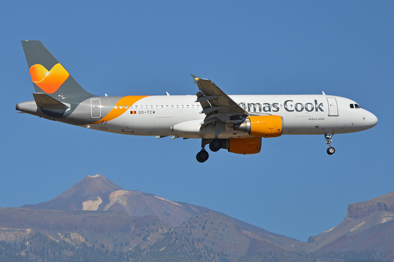 Et Airbus A320-fly fra Thomas Cook Airlines Belgium. Foto: Alan Wilson / Wikimedia Commons.
