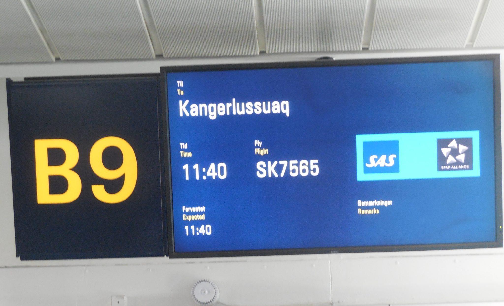 SAS-afgang til Kangerlussuaq fra CPH Gate B9. (Foto: Sheila Simkin)