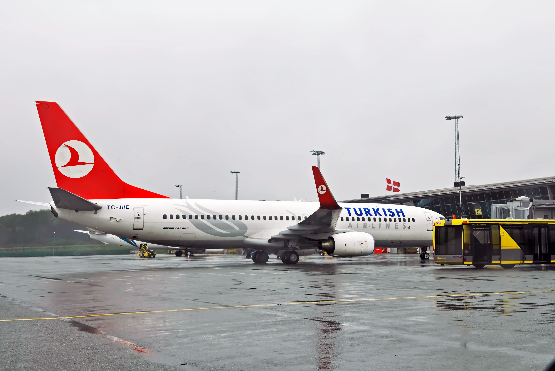 Turkish Airlines Boeing 737-800 i Billund Lufthavn. (Foto: Billund Lufthavn)