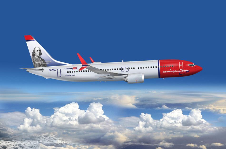 Benjamin Franklin på halen af Norwegian Boeing 737 8 MAX. (PRNewsfoto/Norwegian)