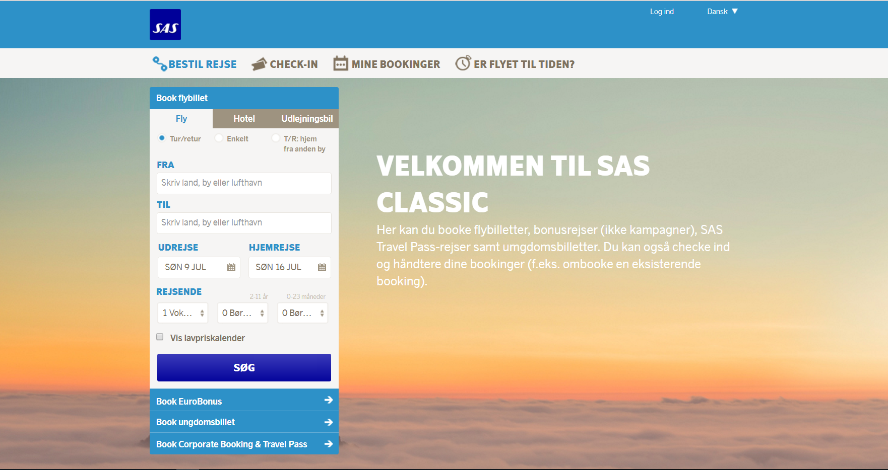 SAS Classic hjemmeside.