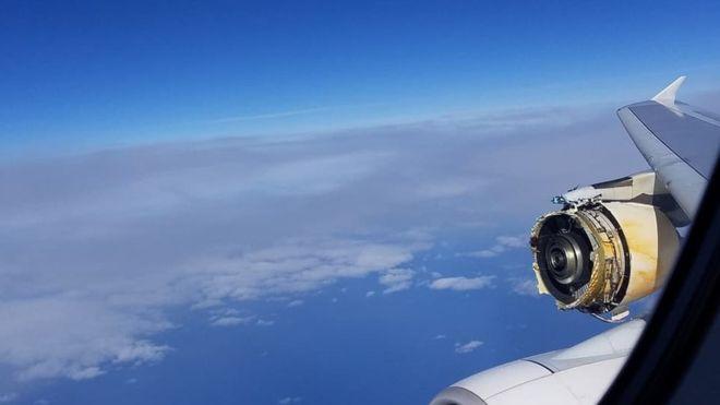 Den ødelagte motor på A380-flyet. Foto: David Rehmar