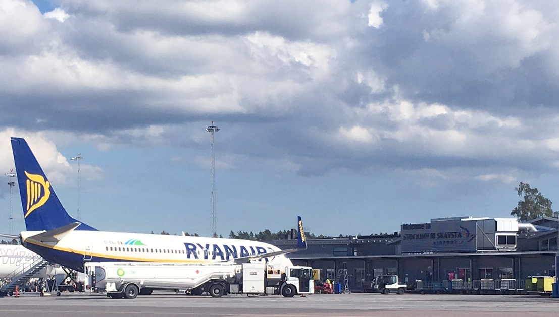 Ryanair Boeing 737-800 i Skavsta. (Foto Stockholm Skavsta Airport)