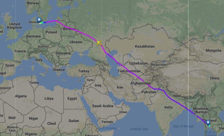DY7210 mellem Bangkok og København lagde den 1. januar turen gennem russisk luftrum. Screendump fra Flightradar24.