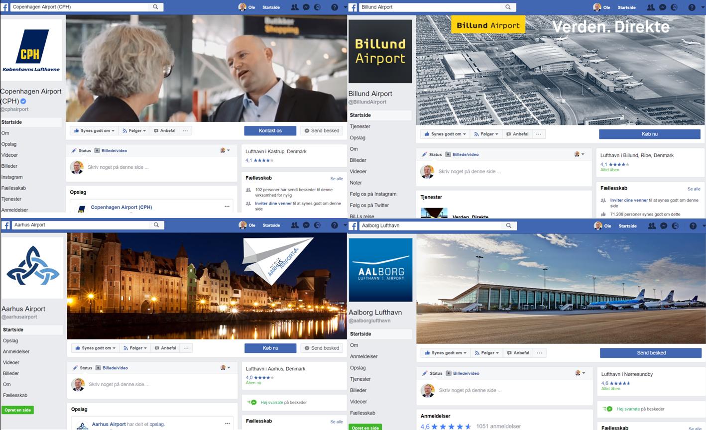 De fire største danske lufthavne på Facebook.