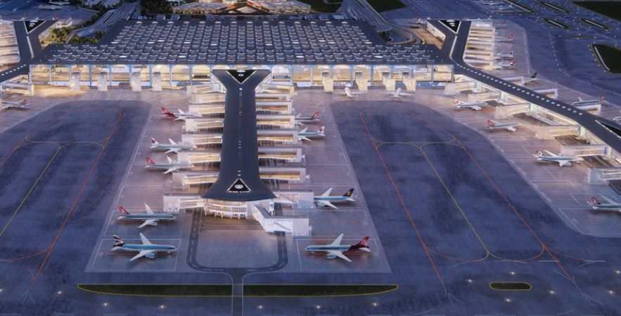 Illustration af Istanbul New Airport.