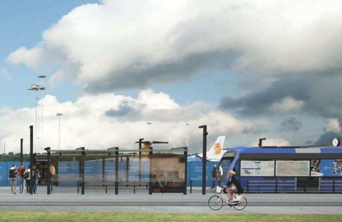Den nye sporvognslinjes station ved Bromma-lufthavnen.