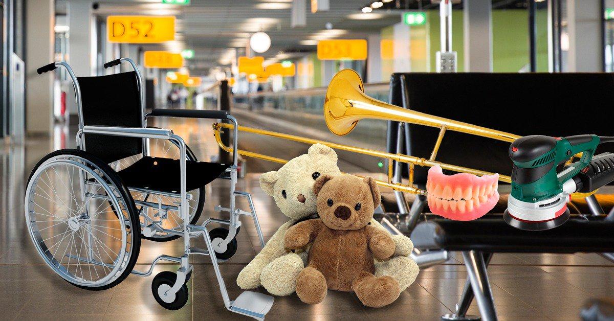 Et bredt udvalg af glemte sager i Schliphol. Foto Schliphol Airport.