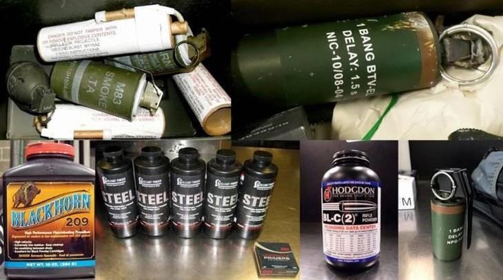 Den amerikanske myndighed oplevede – ud over 3.391 skydevåben – også flere tilfælde med granater i håndbagagen. Foto: Transportation Security Administration.