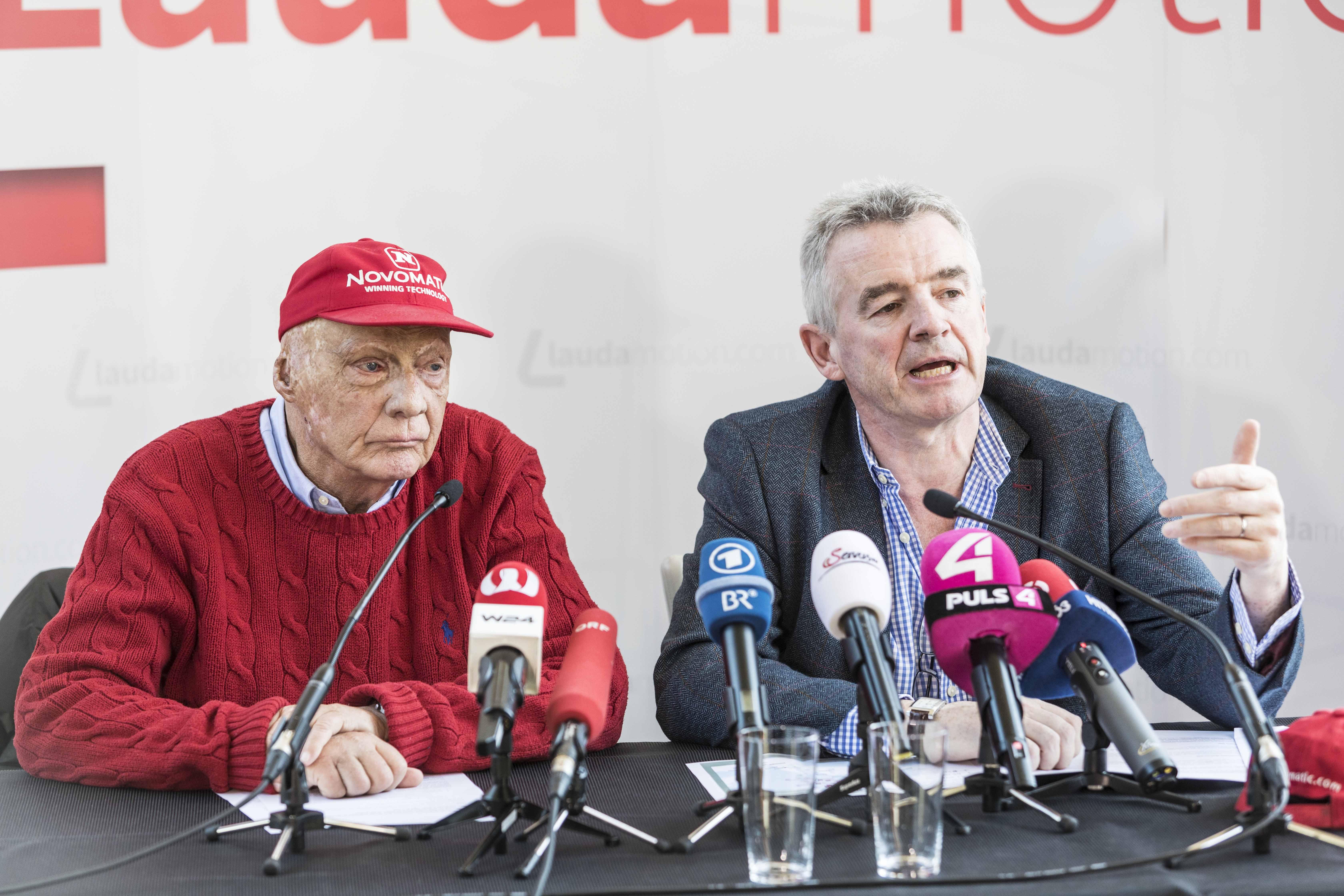 Niki Lauda (t.v.) og Michael O´Leary (Foto: Laudamotion)