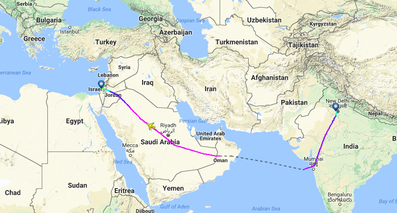 Dreamliner-flyet fra Air India fik lov at flyve over Saudi-Arabien på vej til Israel. Foto: FlightRadar24