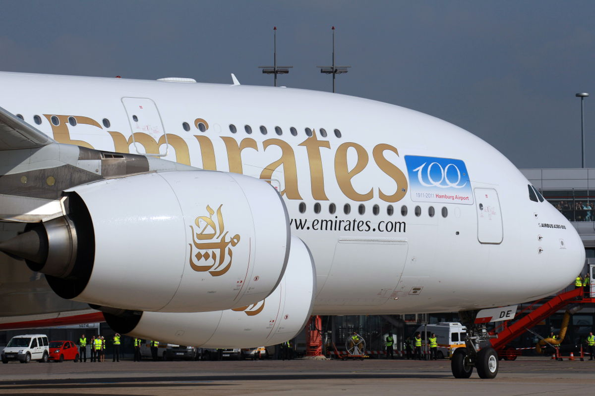 Airbus A380-800 fra Emirates i Hamborg Lufthavn. (Foto: Emirates)