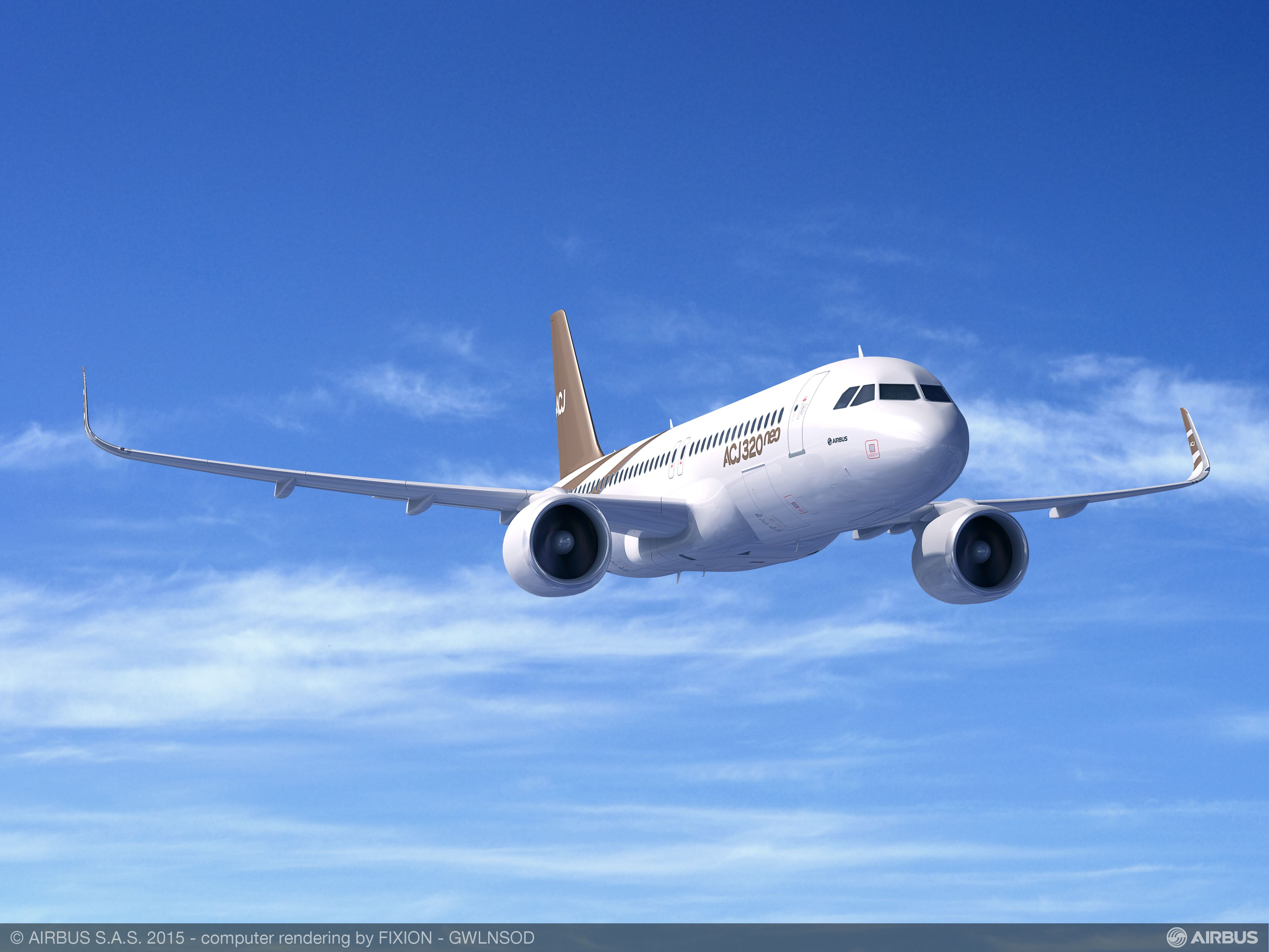 Den nye ACJ320neo fra den europæiske flyproducent Airbus. Foto:  Airbus
