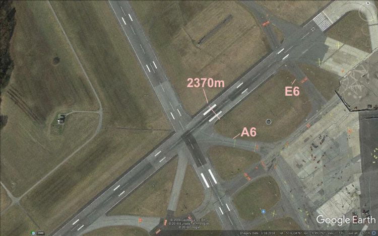 Hamburg Airport bane 05 (Grafik: The Aviation Herald | Google Earth)