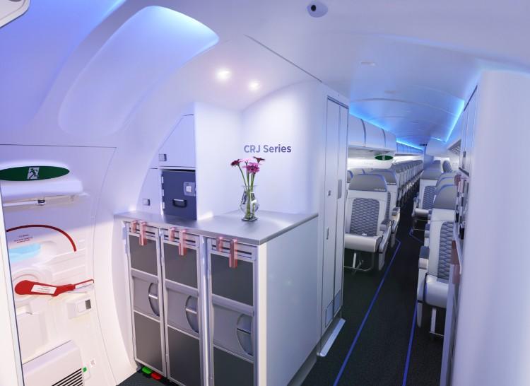 Den nye Atmosphère-kabine på Bombardier CRJ900-flyene.