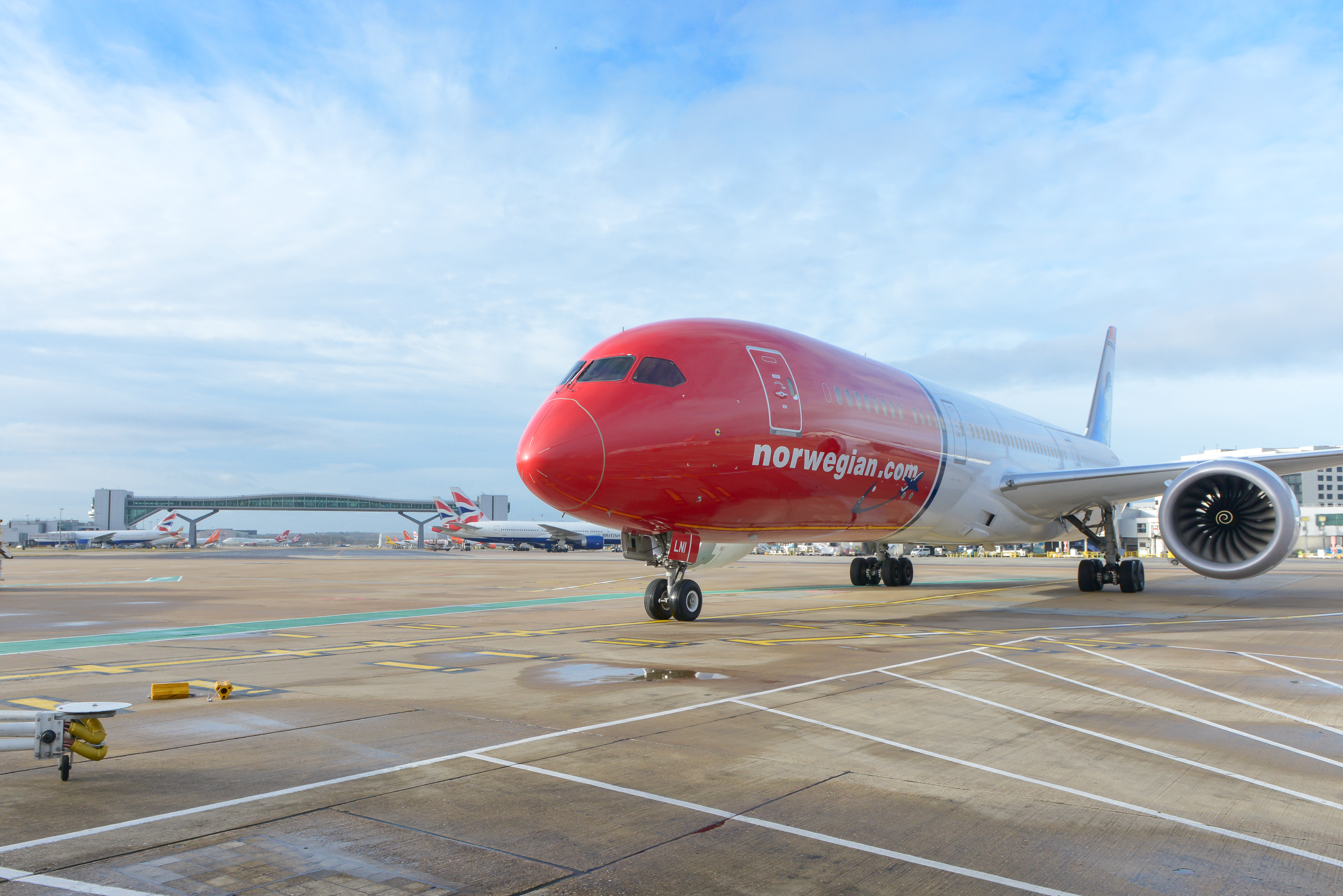 Norwegian Boeing 787-9 Dreamliner i London Gatwick Airport. (Foto: Simon Wright | CC 2.0)