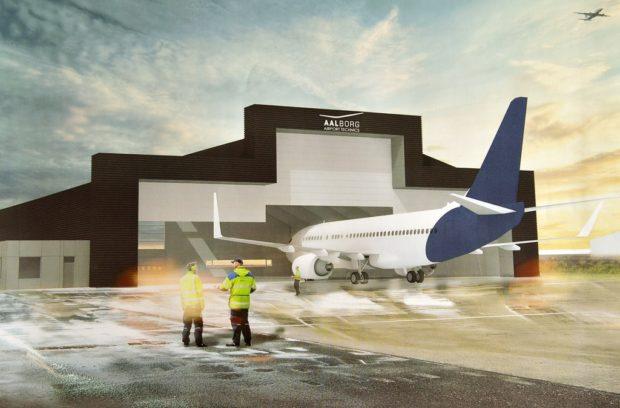 Den kommende hangar i Aalborg Lufthavn. (Illustration: Arkitektfirmaet C.F. Møller)
