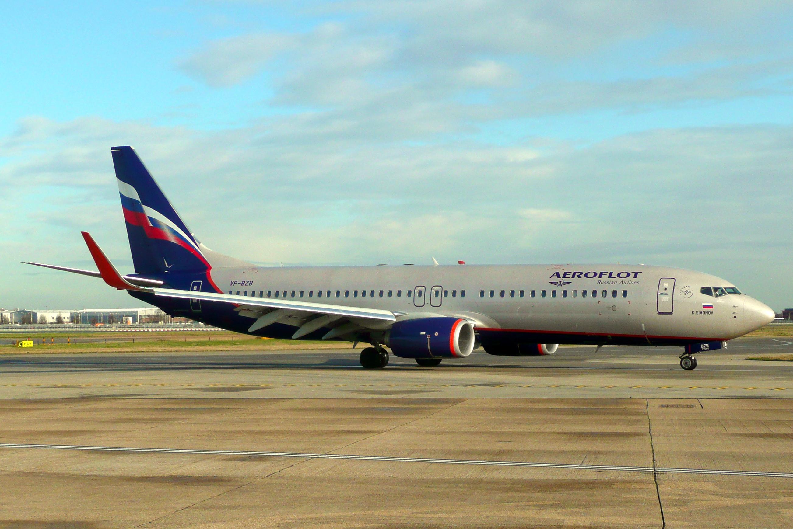 En Boeing 737-800 fra det russiske flyselskab Aeroflot. Foto: John Taggart