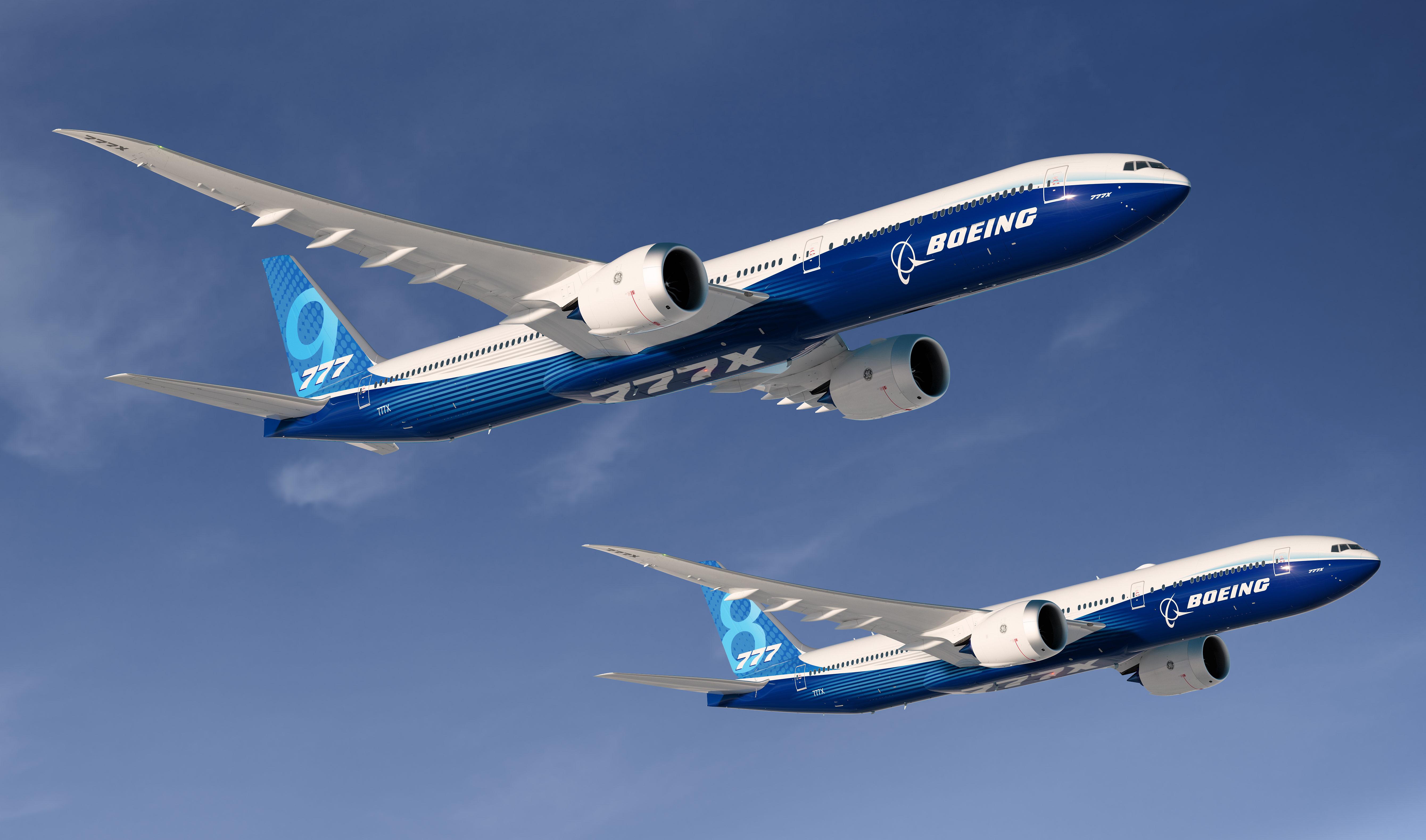 De to nye Boeing-modeller 777-9 og 777-8, hvor førstnævnte efter planen kommer på markedet i 2020. Foto: Boeing