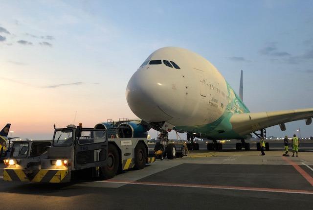 Airbus A380-800 fra Hifly i CPH. (Foto: Københavns Lufthavn)