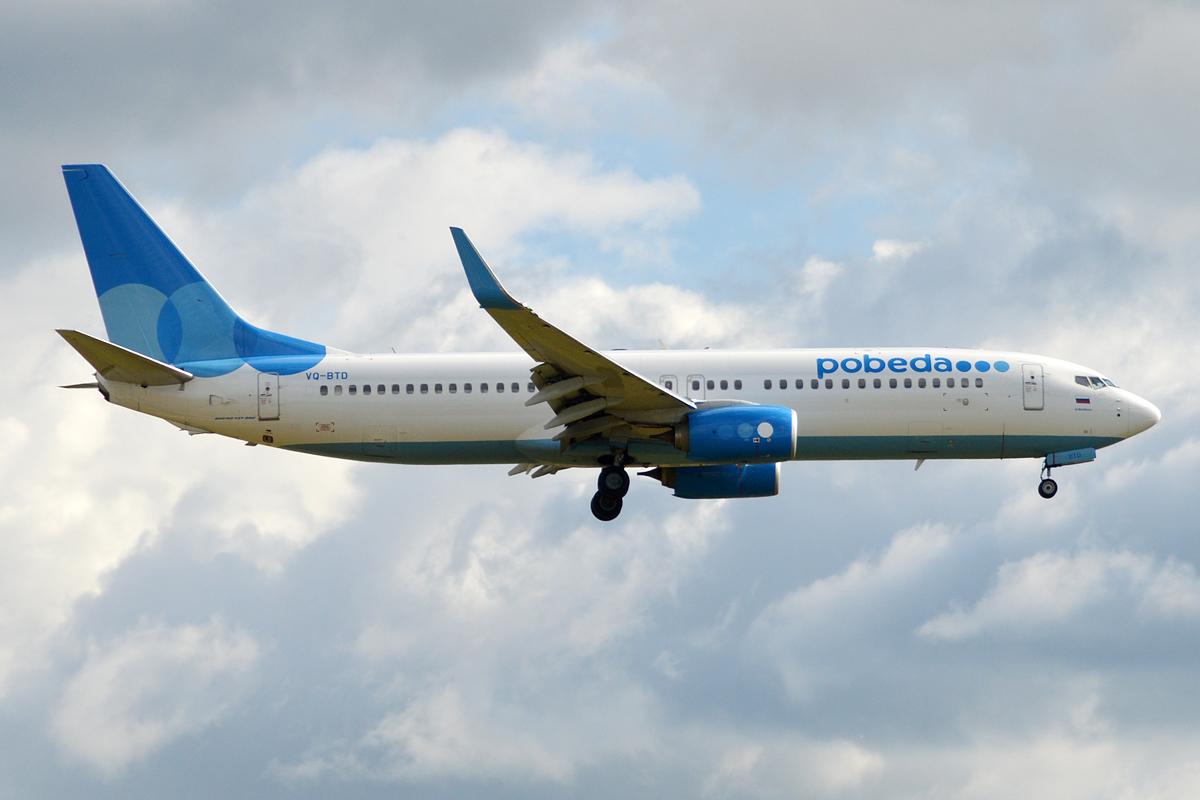 En Boeing 737-800 fra det russiske lavprisflyselskab Pobeda. Foto: Anna Zvereva