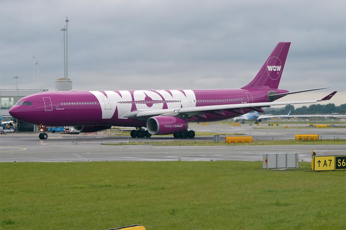 En Airbus A330-300 fra det islandske flyselskab WOW air. Foto: Anna Zvereva