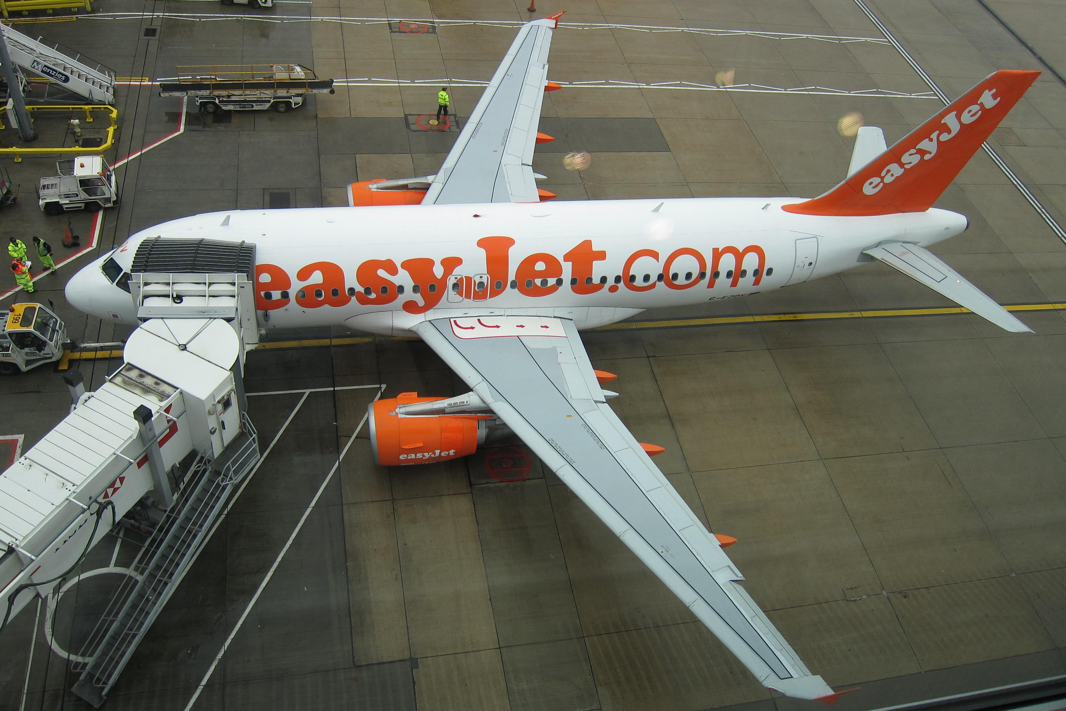 En Airbus A319 fra easyJet i London Gatwick. Foto: Olivier Cleynen