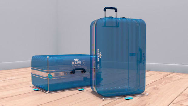 Den virtuelle trolley i KLM's nye tjeneste, som fungerer via Messenger.