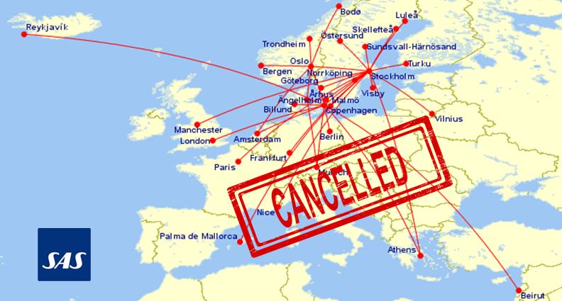 SAS-aflysninger i uge 41. (Grafik: Great Circle Mapper)