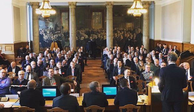 Transportminister Ole Birk Olesen var blandt oplægsholderne på konferencen. (Foto fra Twitter)