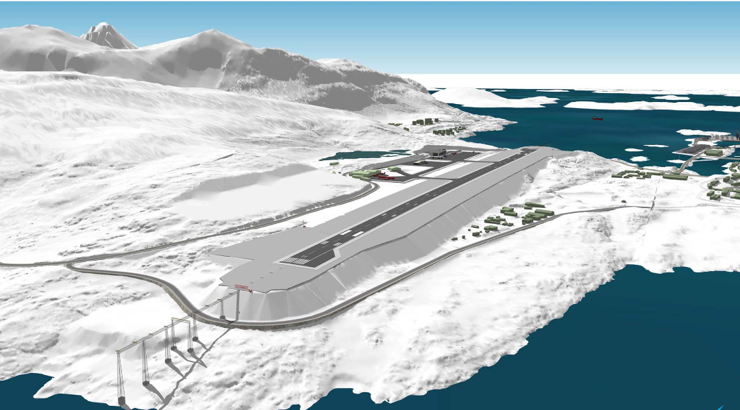 Visualisering af ny 2.200 meter bane i Nuuk Airport (Kalaallit Airports)