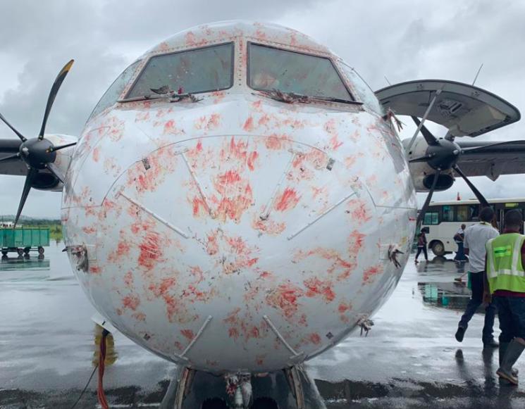 ATR 72-flyet fra Precision Air, der ramte en stor flok fugle under landing. Foto: Aviation Tanzania