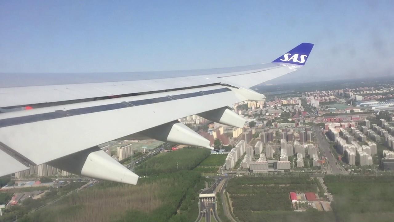 SAS A340-300 ved start fra Beijing Capital International Airport (Foto: CharlesMD11F)