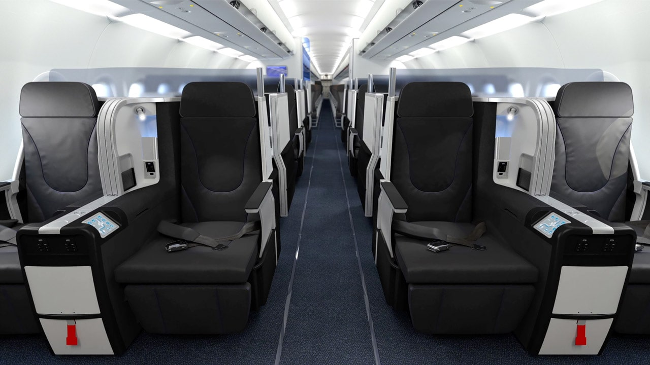 Business Class-sæder i Mint-versionen af Airbus A321-200 hos jetBlue. (Foto: jetBlue/PR)