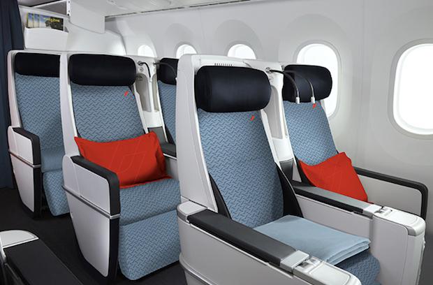 Den nye Premium Economy-kabine på Air Frances A330-200-fly.