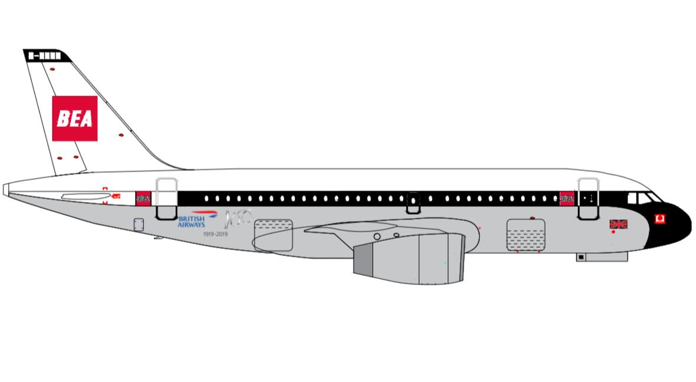 Airbus A319-100 i BEA-bemaling. (Grafik: British Airways/PR)