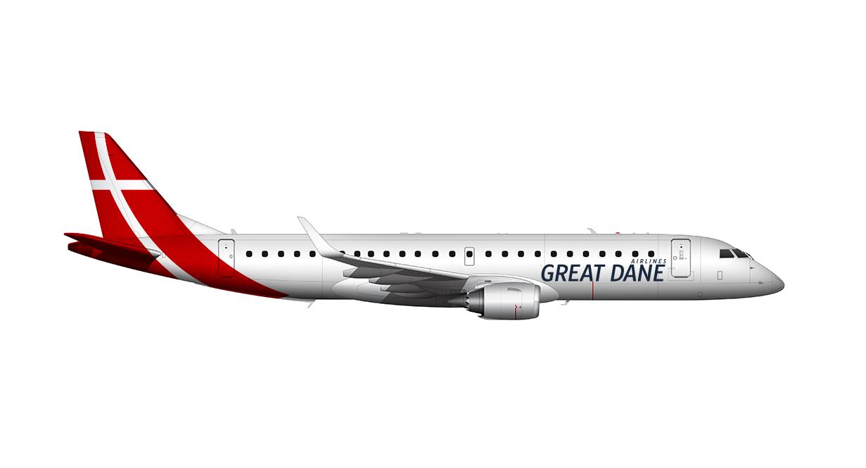 Embraer ERJ-195AR fra Great Dane Airlines (Grafik: Great Dane Airlines/PR)