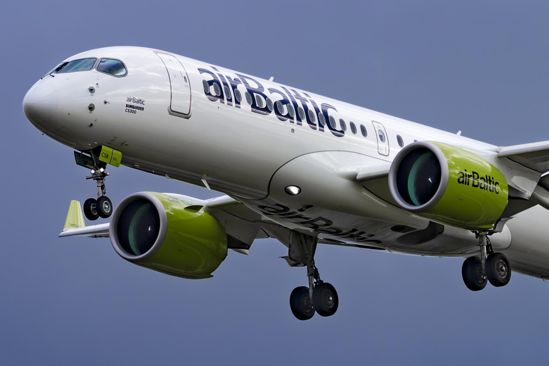 En Airbus A220-300 fra airBaltic. Foto: © Thorbjørn Brunander Sund, Danish Aviation Photo