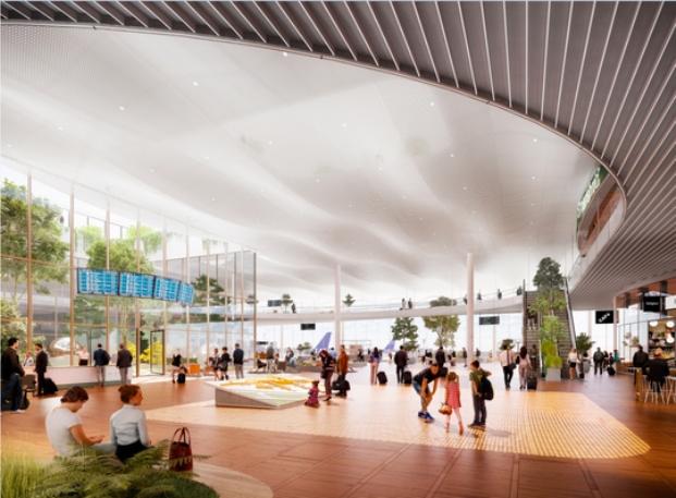 Mulig indretning af ny Terminal 3 i Københavns Lufthavn. (Illustration: Vilhelm Lauritzen Arkitekter og Zeso Architects)