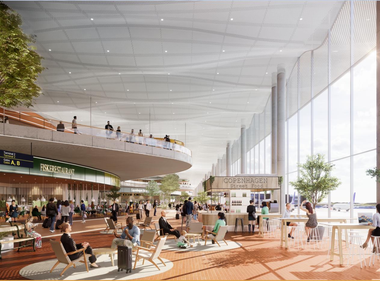 Visualisering af kommende terminaludvidelse i Københavns Lufthavn. (Ill. Vilhelm Lauritzen Arkitekter og ZESO ARCHITECTS)